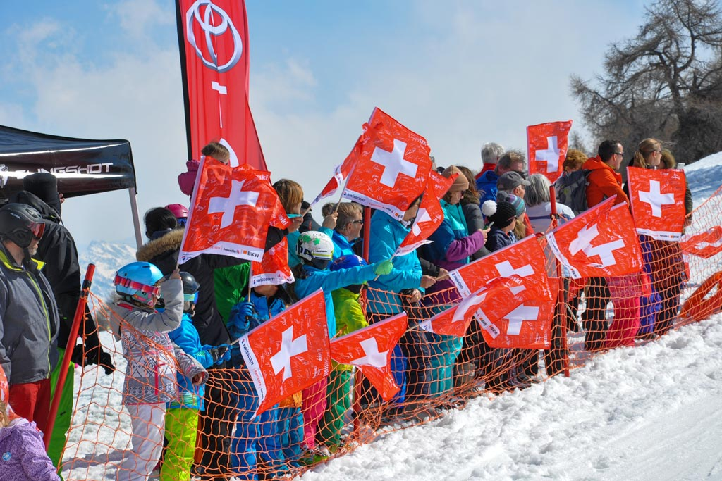 Spectators at FIS Snowboard World Cup Veysonnaz